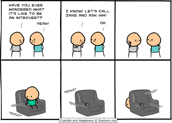Image result for cyanide and happiness introvert