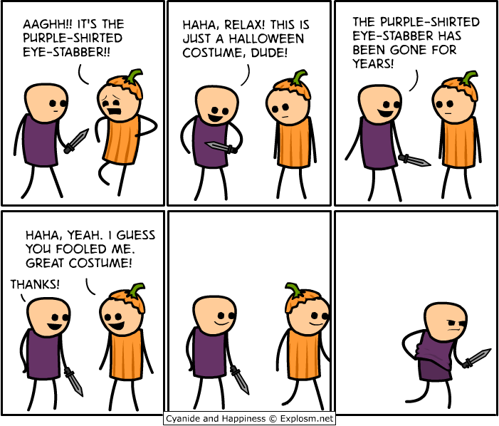 purple-shirted eye-stabber halloween costume